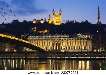 Famous view of Saone river at Lyon by night, France - stock photo