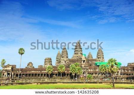 Famous View Point of Angkor Wat Temple - stock photo