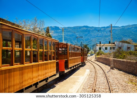 famous vintage old train in Soller, Mallorca, Spain - stock photo