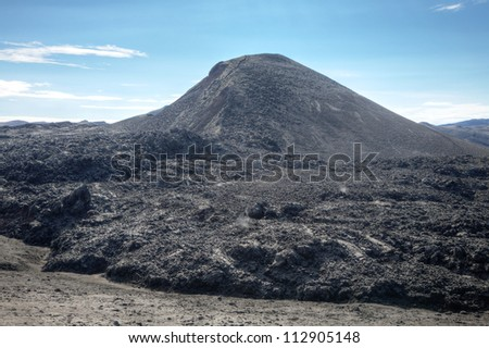 Famous volcano Eyjafjallajokull in Iceland August 2010 - stock photo