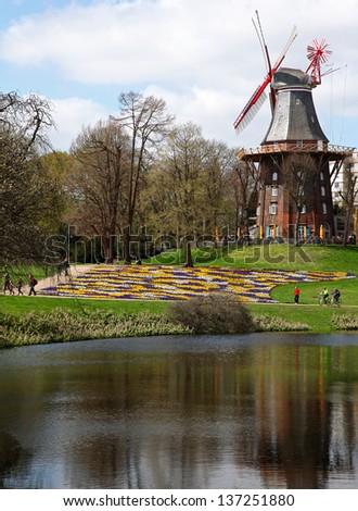 famous Wallanlagen in Bremen, Germany - stock photo