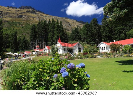 Famous Walter Peak High Country Farm, Queenstown, New Zealand (on the western shores of beautiful Lake Wakatipu) - stock photo