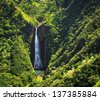 Famous waterfall on Kauai island taken from the air - stock photo