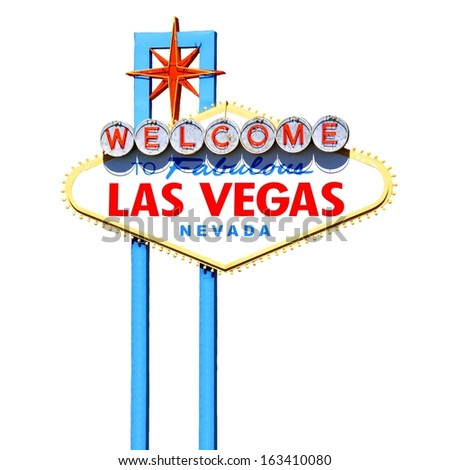 Famous Welcome to Fabulous Las Vegas sign isolated on white - stock photo