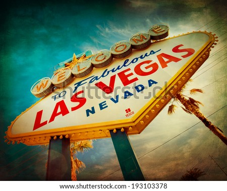 Famous Welcome to Las Vegas sign with vintage texture - stock photo