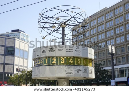 Famous World clock at Alexanderplatz square - tourist attraction - BERLIN / GERMANY - AUGUST 31, 2016