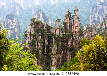 Famous Zhangjiajie National Forest Park in Hunan Province, China. - stock photo