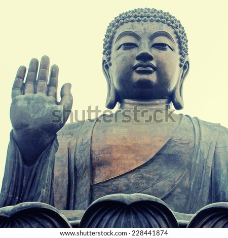 Famouse Big Buddha on Lantau Island, Hong Kong(China). Square toned image, instagram effect - stock photo
