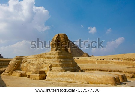 Famouse Sphinx and the great pyramids Cairo, Egypt - stock photo