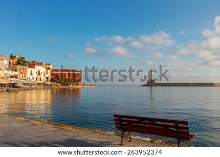 famouse venetian embankment of Chania old town, Crete, Greece - stock photo
