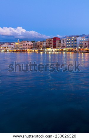 famouse venetian habour of Chania  at night, Crete, Greece - stock photo