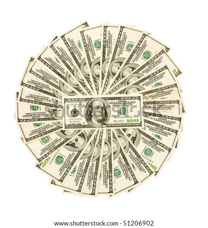 fan, dollars isolated on white - stock photo