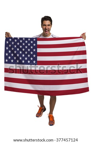Fan holding the flag of America celebrates on white background.