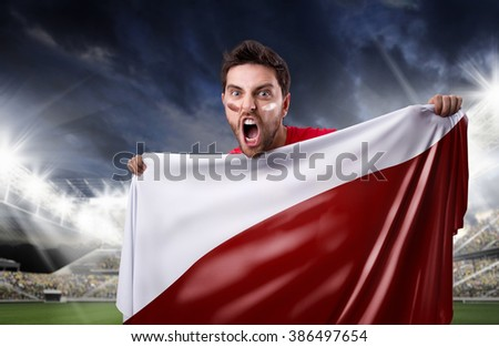 Fan holding the flag of Poland in the stadium - stock photo