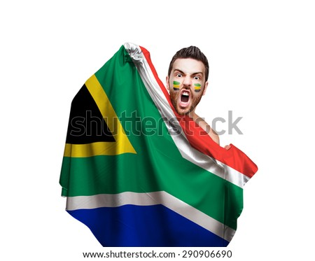 Fan holding the flag of South Africa on white background