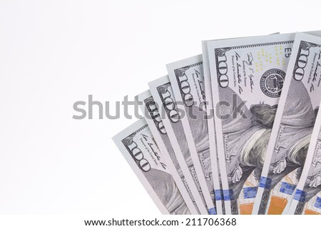 Fan of 100 dollars greenbacks. Whole background. - stock photo