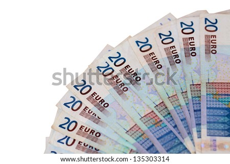 fan of euro bank notes - stock photo