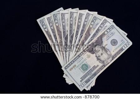 fan of twenty dollar bills - stock photo