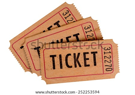 Fan shape stack of old movie tickets isolated on white background.   - stock photo