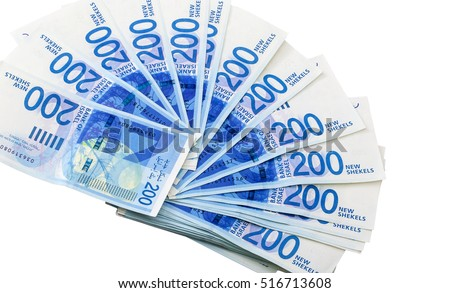 Fan shaped spread of 200 New Israeli Shekel (NIS) notes, isolated on white background.