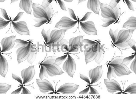 fancy black and white butterfly seamless pattern. hand drawn illustration. watercolor artwork. - stock photo