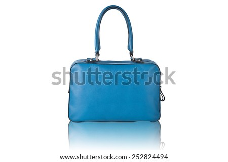 Fancy blue leather handbag isolated on white with reflection - stock photo