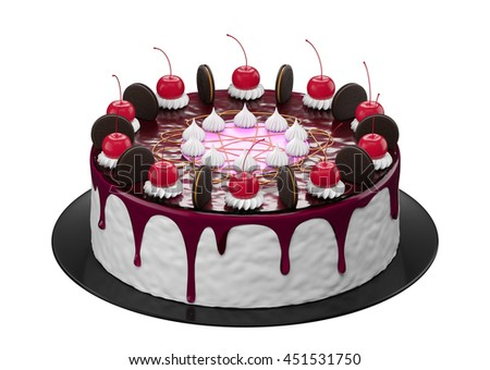 Fancy cakes in white background 3d rendering. - stock photo