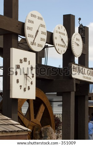 Fancy clock displaying the year, month, day, date and time at Royal Gorge, Colorado.