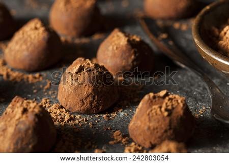 Fancy Dark Chocolate Truffles Ready to Eat - stock photo