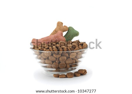 Fancy dog dish with food garnished with bone shaped treats