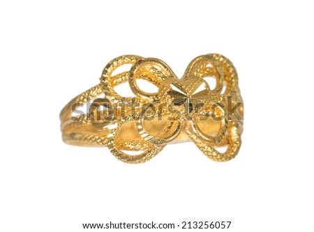 fancy golden ring isolated on white