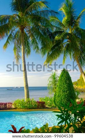 Fancy Hotel Blue Luxury - stock photo