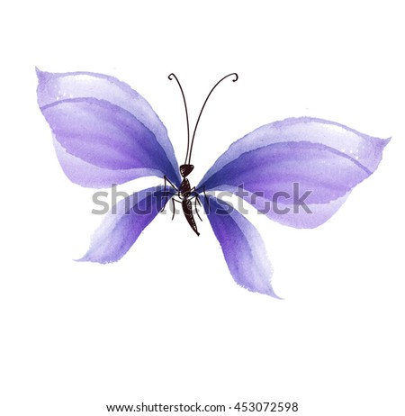 fancy lilac color butterfly design element. hand drawn illustration. watercolor artwork. - stock photo