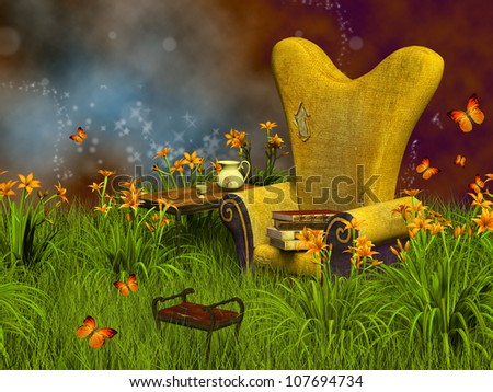 Fancy reading place 3D - stock photo