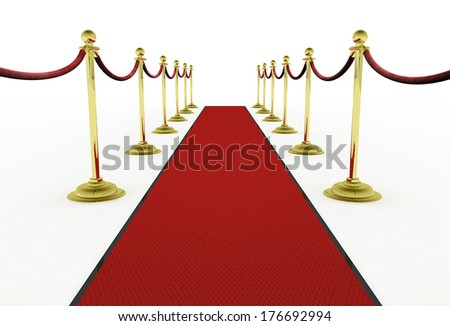 Fancy Red Carpet Entrance With Gold Stanchions