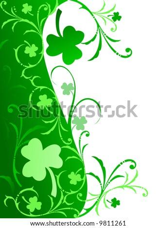 Fancy shamrock border green gradient shamrocks stock illustration fancy shamrock border in green with gradient shamrocks and floral swirls altavistaventures Images