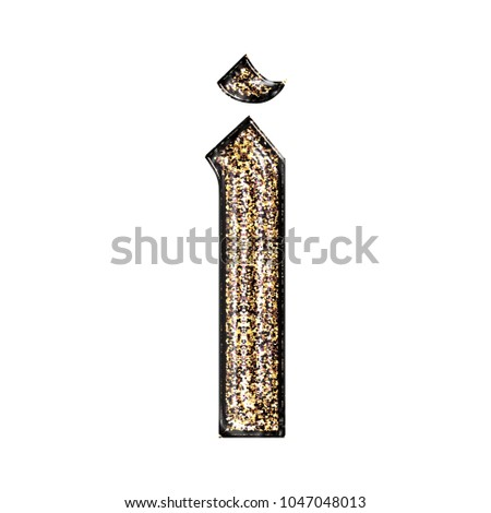 Fancy Sparkling Glittery Gold Style Lowercase Or Small Letter I In A 3D Illustration With