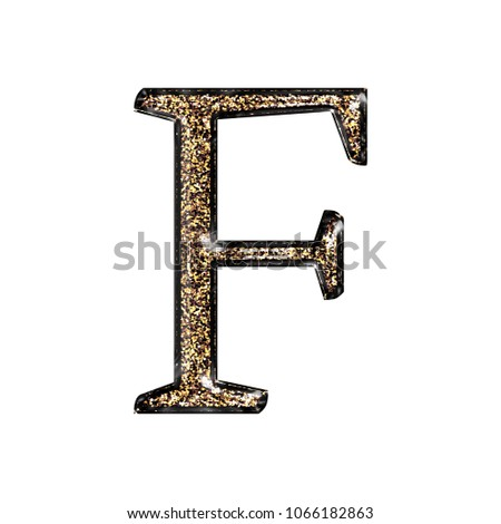 Fancy Sparkling Glittery Gold Style Uppercase Or Capital Letter F In A 3D Illustration With