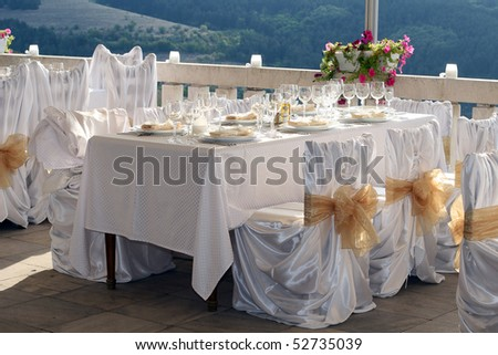 Fancy table set for a wedding - stock photo