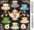 Fancy Victorian style tea service - stock photo
