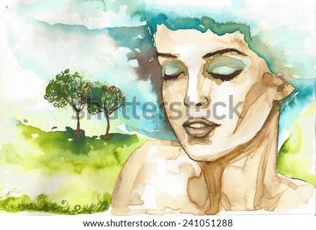 fancy watercolor illustration, portrait woman - stock photo