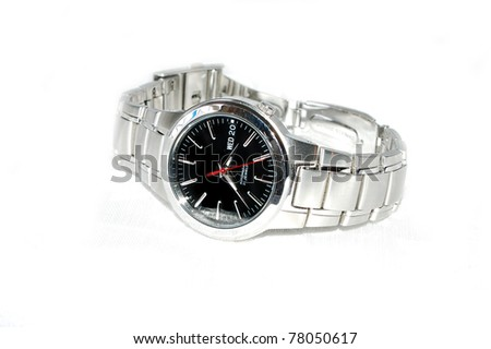 Fancy Wrist Watch on White Background - stock photo
