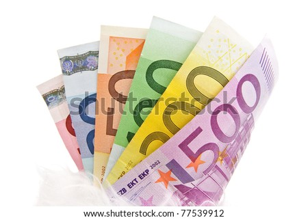 Fanned multicolored euro banknotes isolated on a white background - stock photo
