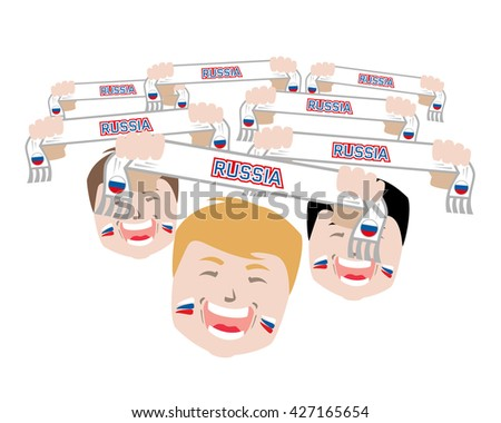 Fans and scarves - russian football national team supporters,euro 2016 isolated, euro 2016 fans, euro 2016 people, euro 2016 match, euro 2016 stadium, euro 2016 goal, euro 2016 winner, euro 2016 face - stock photo