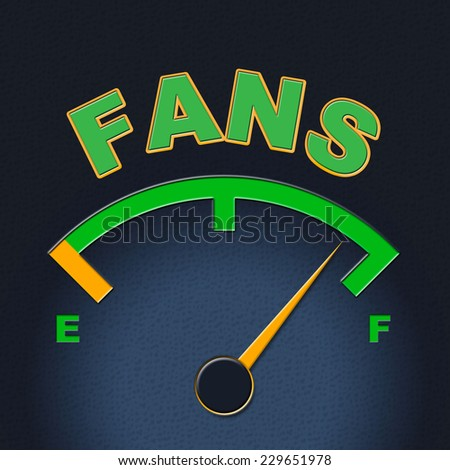 Fans Gauge Representing Social Media And Measure - stock photo