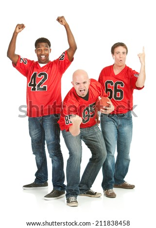 Fans: Guys Are Excited To See Their Football Team Play - stock photo