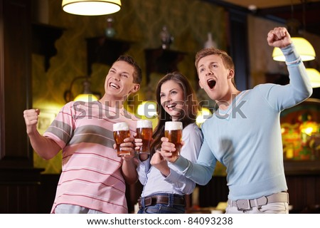 Fans of beer in a pub