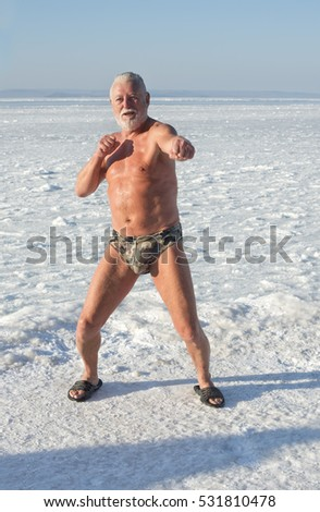 Fans of winter swimming in the hole on the water bodies in the Primorye region, Russia