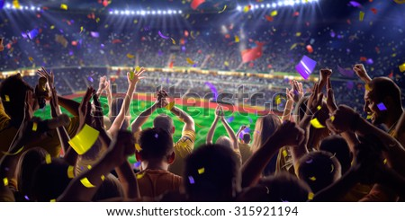 Fans on stadium game panorama view - stock photo