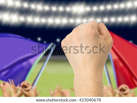 fans support their team and celebrate goal score victory - stock photo